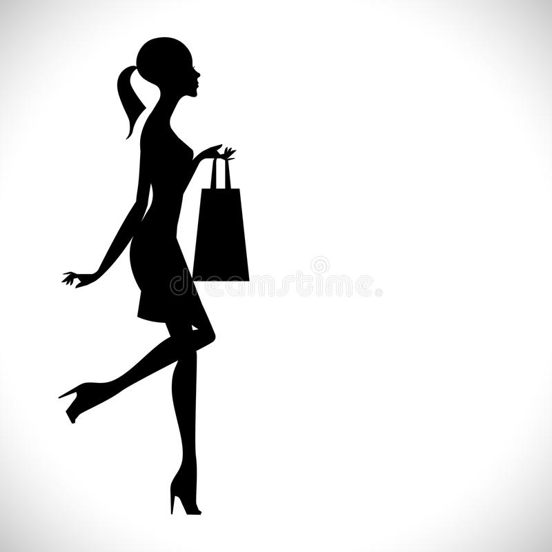 Silhueta de uma menina com um saco ilustração royalty free