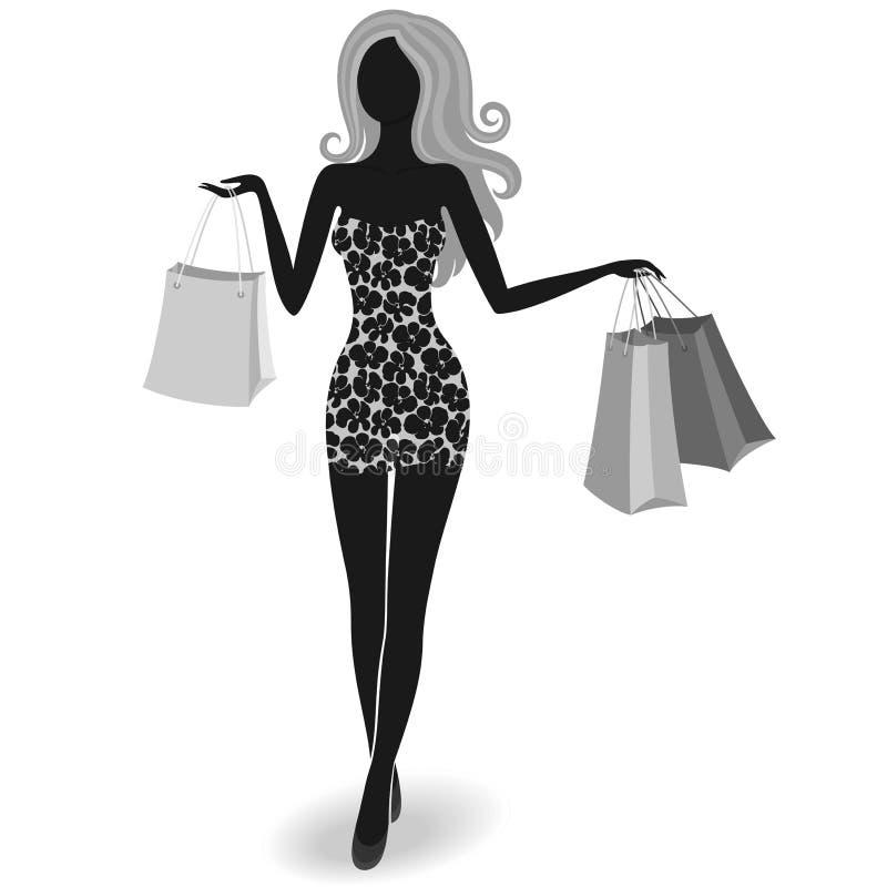Silhueta de uma menina de compra ilustração royalty free