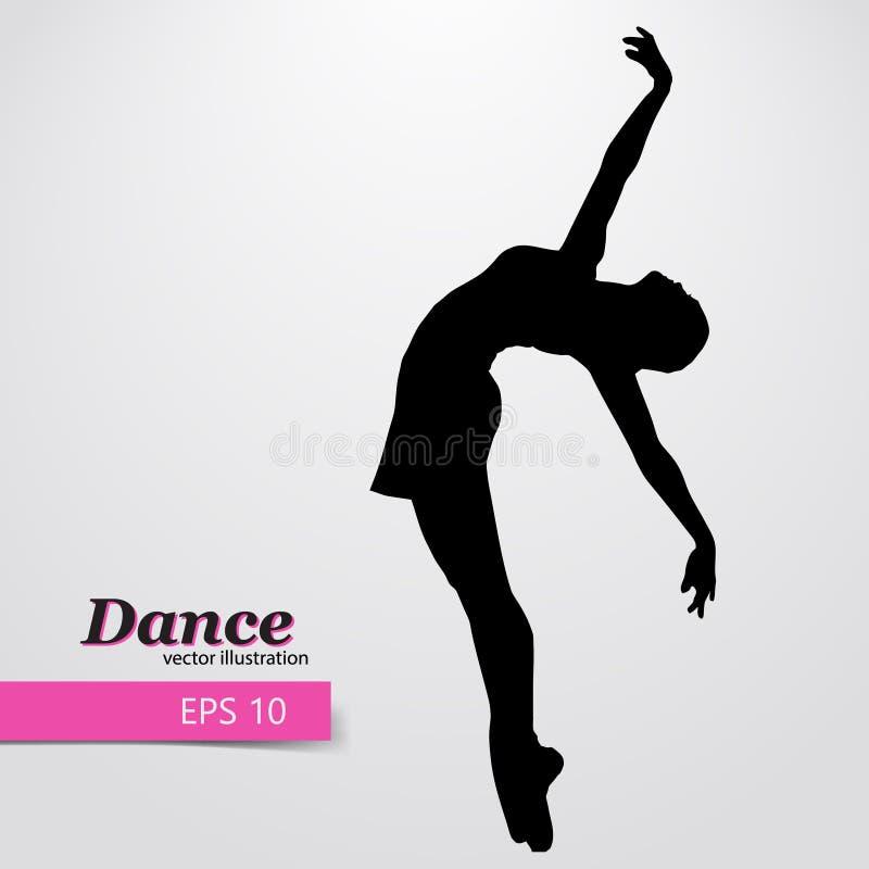 Silhueta de uma menina de dança Mulher do dançarino ilustração do vetor