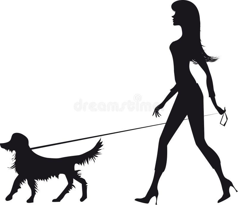 Silhueta de uma menina e de um cão