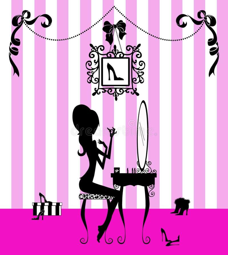 Silhueta de uma menina em sua vaidade ilustração stock