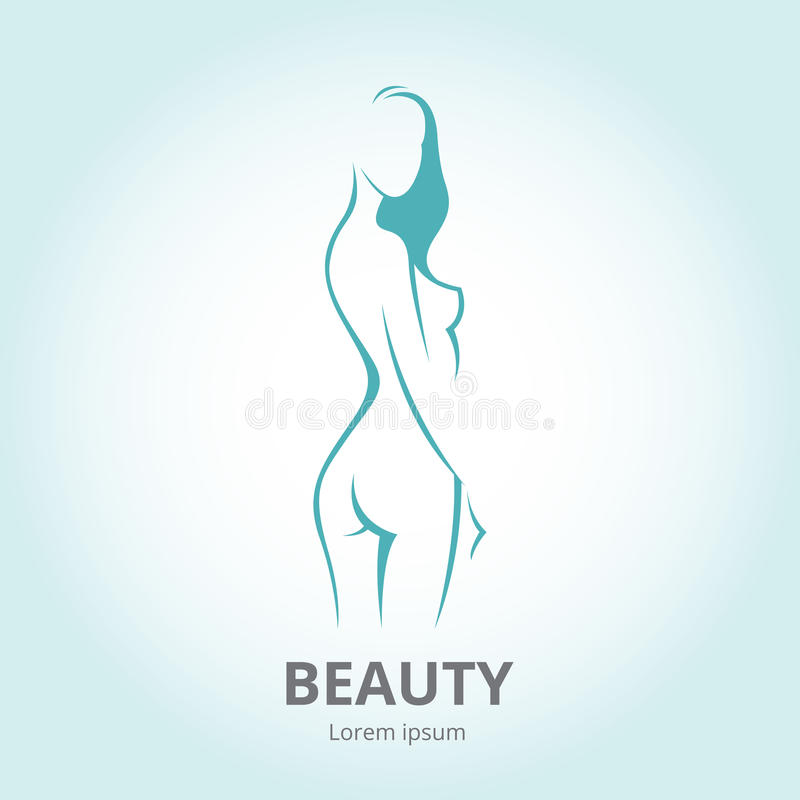 Silhueta de uma menina no logotipo do molde do perfil ou em um resumo ilustração royalty free