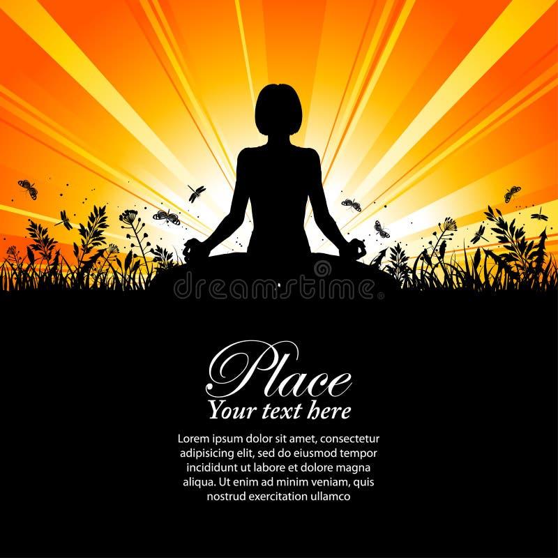Silhueta de uma menina no pose da ioga ilustração royalty free