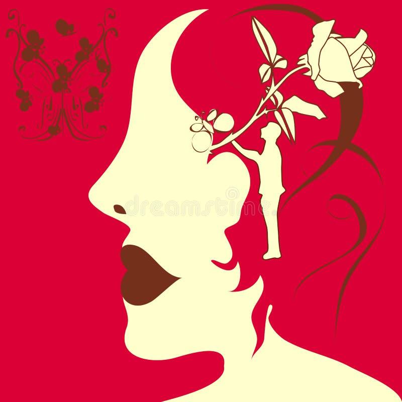 Silhueta de uma menina nos sonhos ilustração royalty free