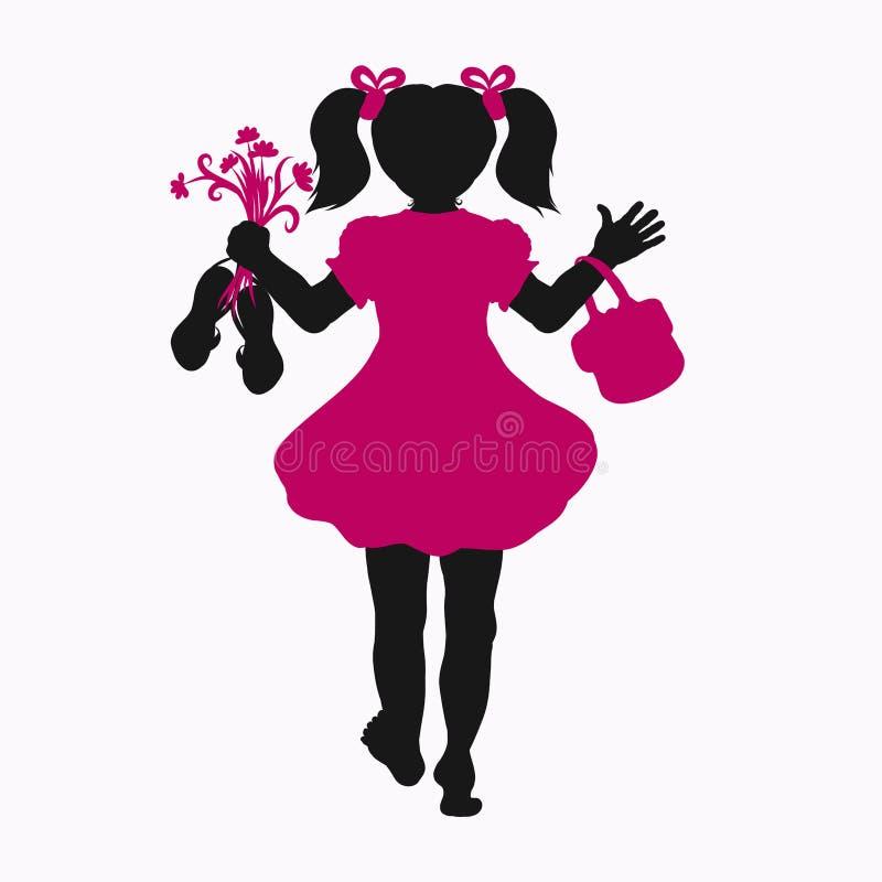 Silhueta de uma menina que anda com os pés descalços, com flores, sandálias e ilustração royalty free
