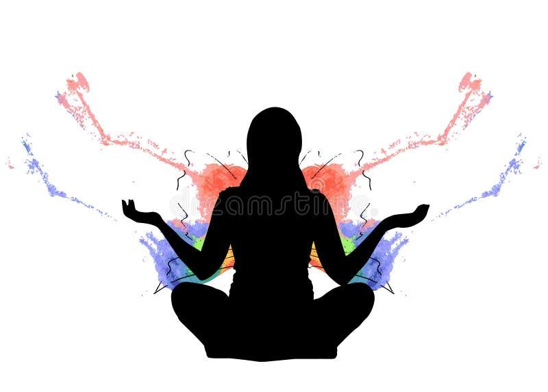 Silhueta de uma menina que senta-se em uma pose dos lótus com respingo do arco-íris das asas da borboleta ilustração stock