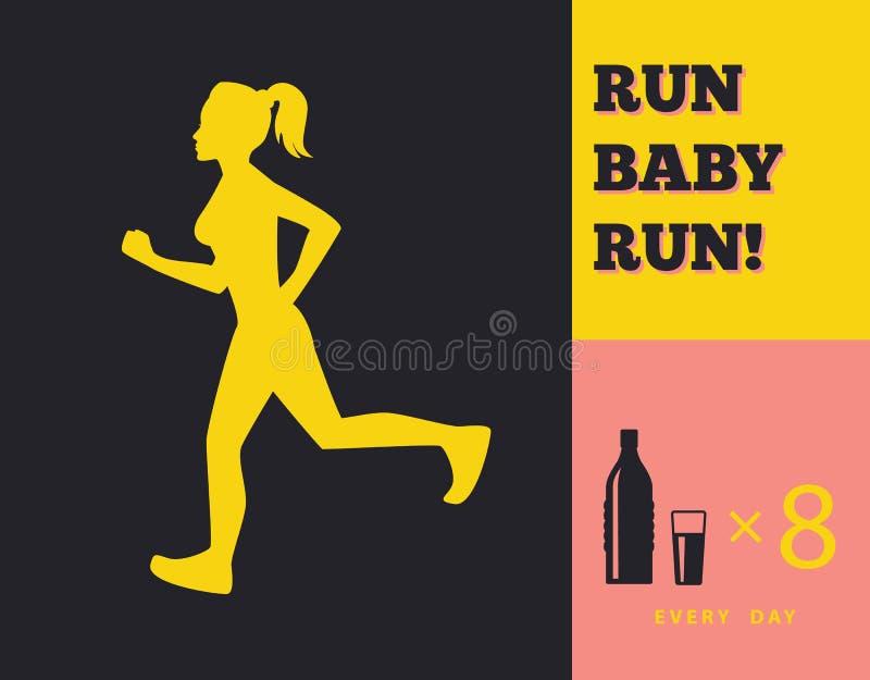 Silhueta de uma menina running ilustração royalty free