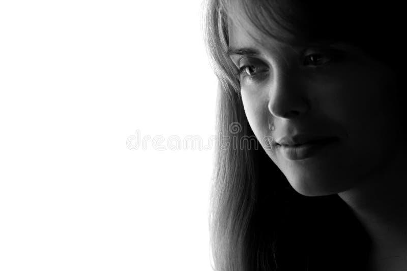 Silhueta de uma menina sonhadora bonita feliz fotografia de stock royalty free