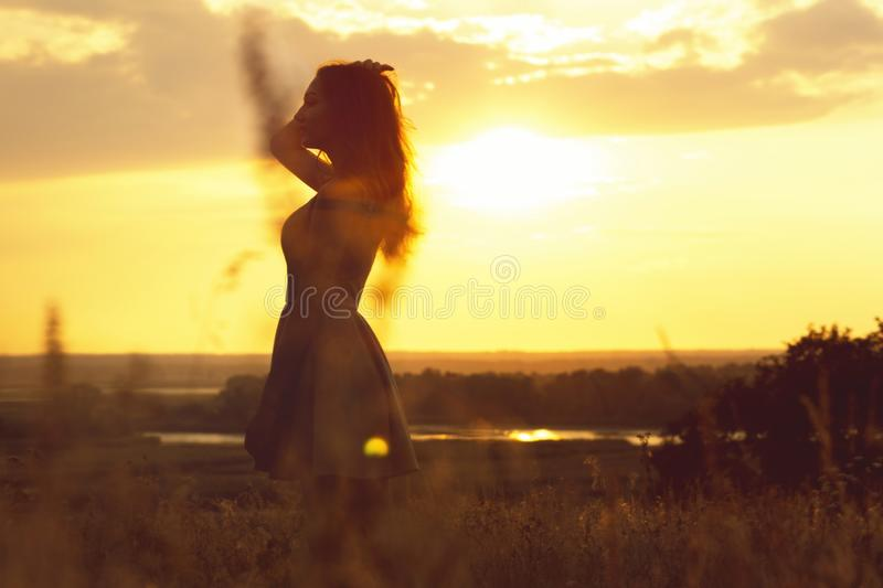 Silhueta de uma menina sonhadora em um campo no por do sol, uma jovem mulher que aprecia a natureza imagem de stock royalty free