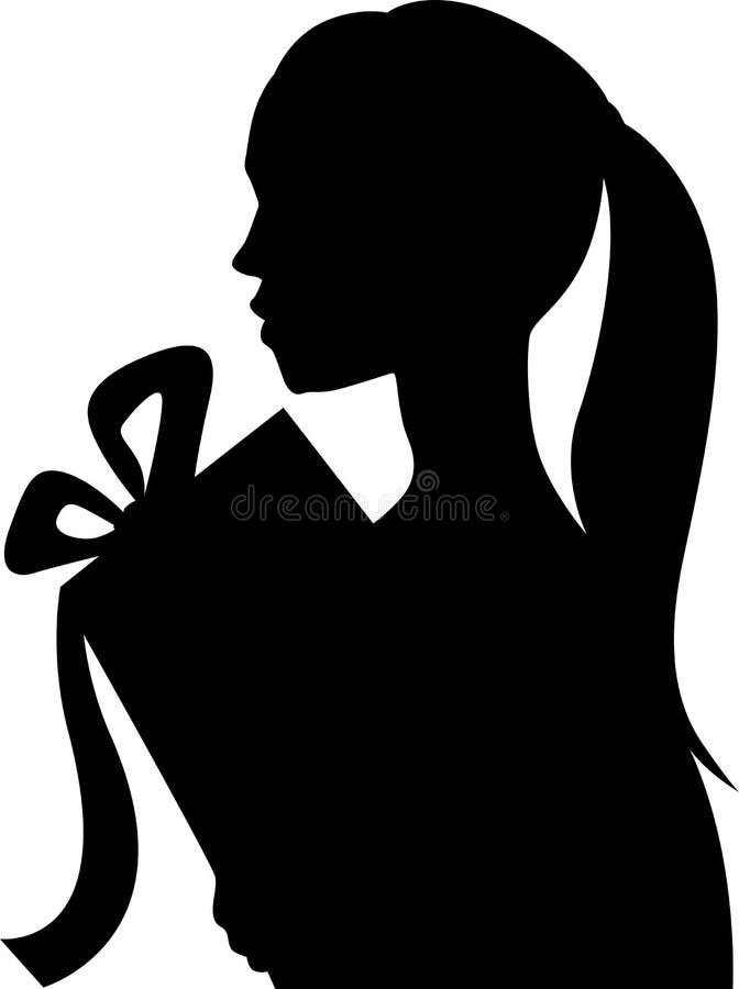Download Silhueta De Uma Moça Bonita Que Guarda Um Presente - Vetor Ilustração do Vetor - Ilustração de novo, fundo: 80101471