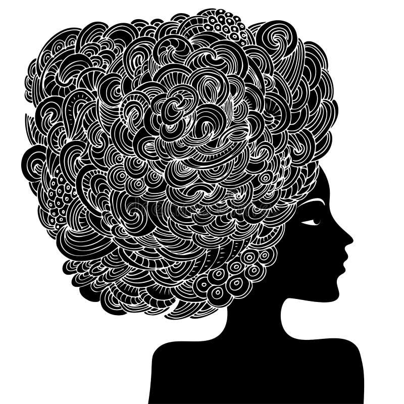 Silhueta de uma mulher bonita com cabelo encaracolado Ilustração decorativa abstrata monocromática da forma Vetor da garatuja do  ilustração stock