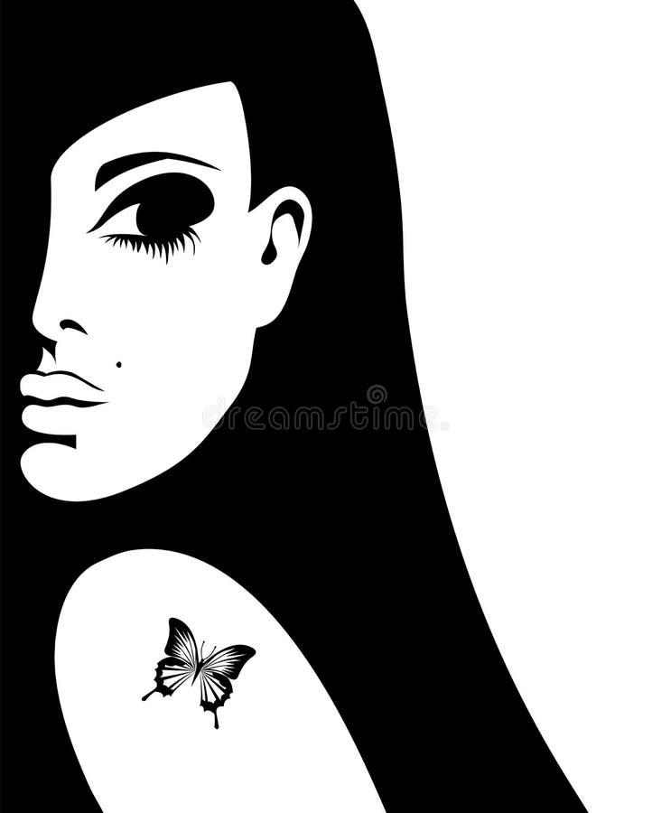 Silhueta de uma mulher com uma tatuagem de uma borboleta ilustração do vetor