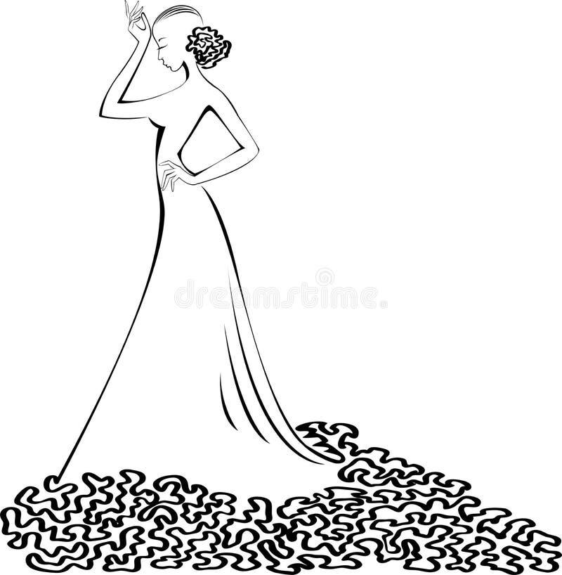 Silhueta de uma mulher em um vestido de esfera ilustração stock