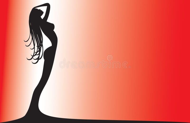 Silhueta de uma mulher no vermelho