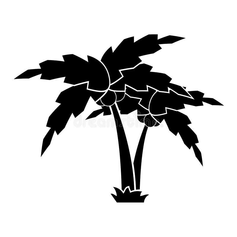 Silhueta de uma palmeira dos desenhos animados na grama ilustração do vetor