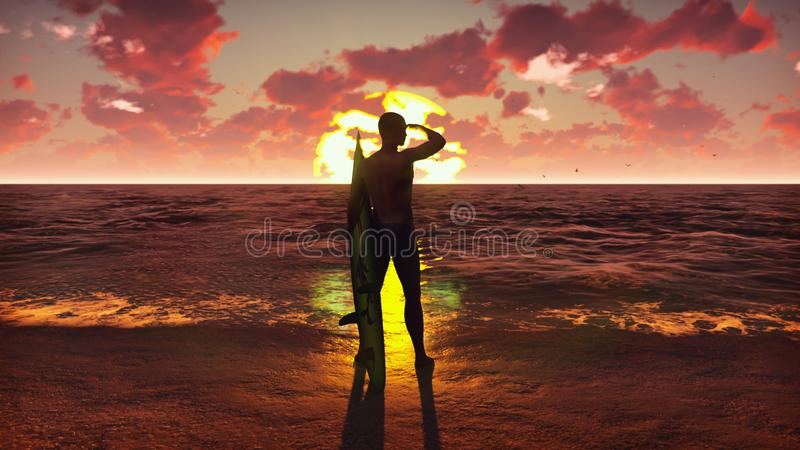Silhueta de uma posição masculina nova do surfista na praia no nascer do sol com uma prancha e a observação das ondas de oceano foto de stock