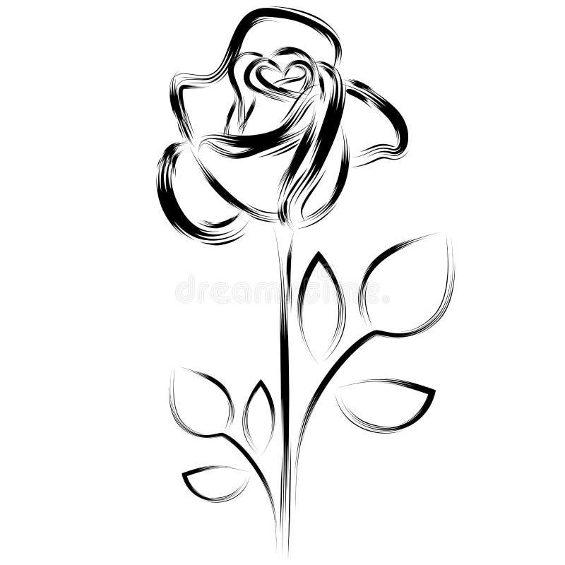 Silhueta de uma rosa ilustração stock