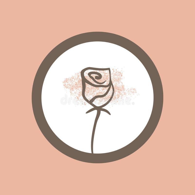 Silhueta de uma rosa pintada à mão com linhas finas Frame redondo ilustração royalty free