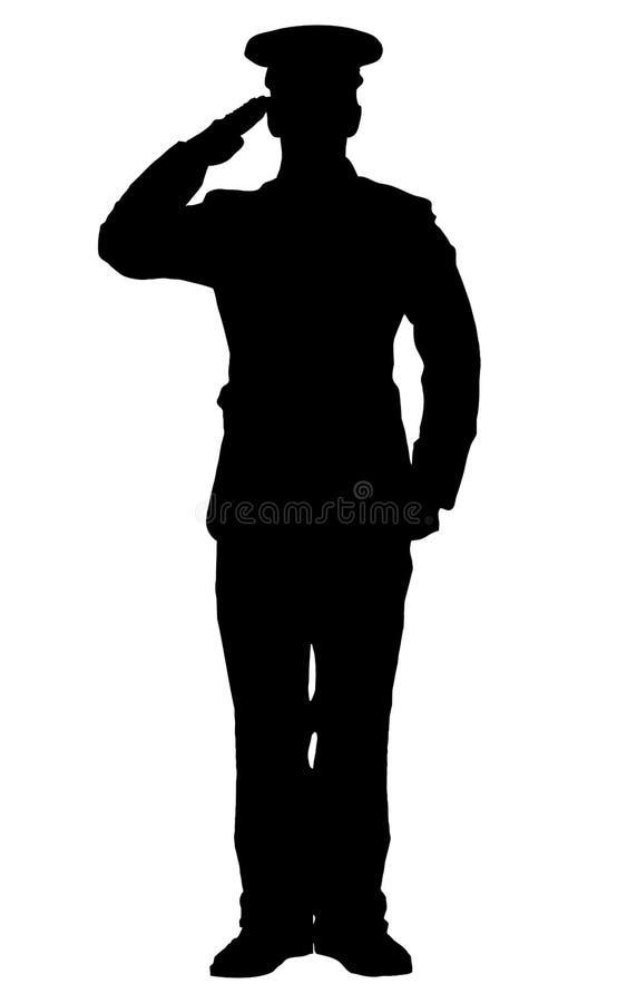 Silhueta de uma saudação do oficial ilustração stock