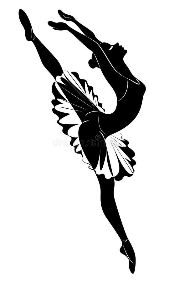 Silhueta de uma senhora bonito, está dançando A menina tem uma figura bonita A mulher ? uma bailarina 'sexy' e magro nova Vetor ilustração stock