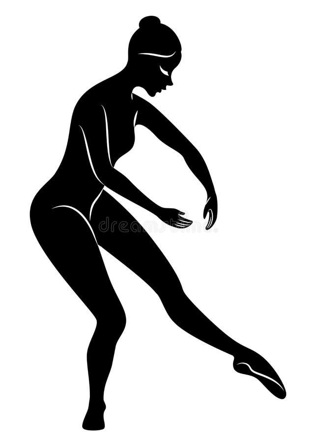 A silhueta de uma senhora bonito, ? um fouette de circundamento de dan?a do bailado A mulher tem uma figura magro bonita Bailarin ilustração royalty free
