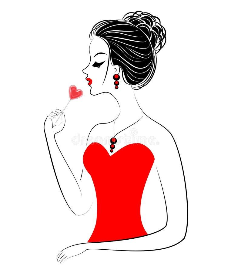 Silhueta de uma senhora doce em um vestido vermelho Uma menina est? comendo os doces, um pirulito vermelho na forma de um cora??o ilustração stock