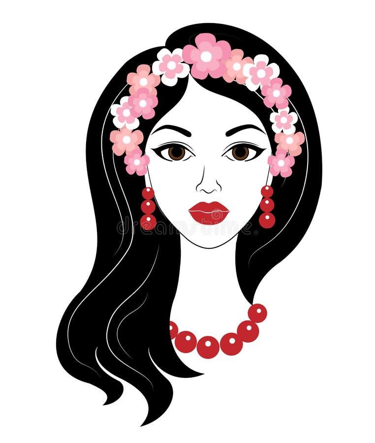Silhueta de uma senhora doce A menina tem o cabelo longo bonito, grânulos vermelhos e brincos Em sua cabe?a uma grinalda das flor ilustração royalty free
