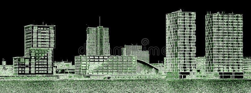 Silhueta de uma skyline moderna da cidade imagens de stock