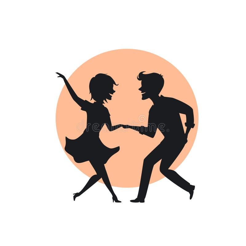Silhueta de uma torção da dança dos pares ilustração royalty free