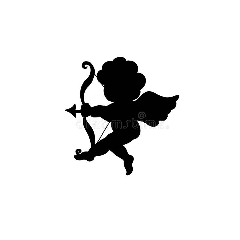 Silhueta de Valentine Day Cupid isolada no branco ilustração stock