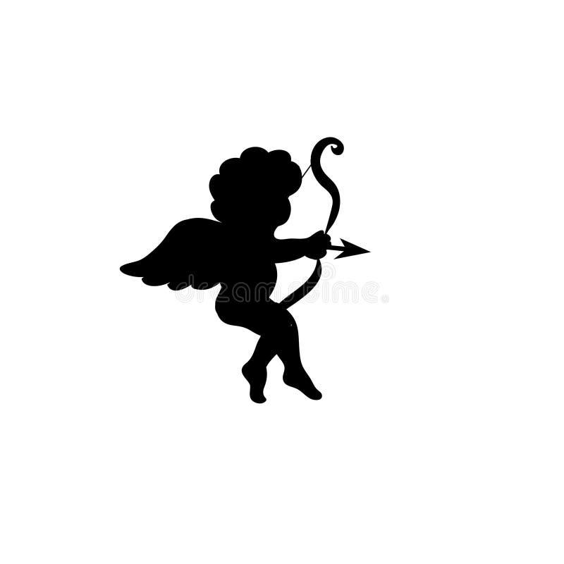 Silhueta de Valentine Day Cupid isolada no branco ilustração royalty free