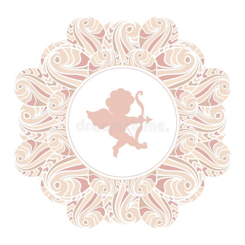 Silhueta de Valentine Day Cupid na bandeira floral do quadro isolada no branco ilustração stock