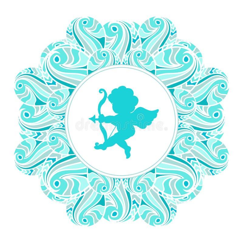 Silhueta de Valentine Day Cupid na bandeira floral do quadro isolada no branco ilustração royalty free