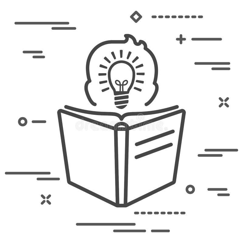 silhueta de visão da cabeça do homem com lâmpada de luz dentro de uma tela plana lendo ícone de livro linear sobre fundo branco ilustração royalty free