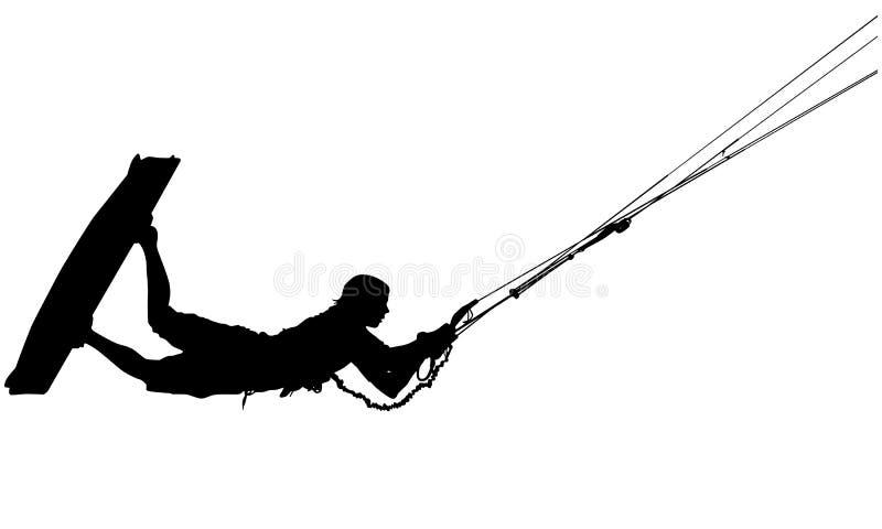 Silhueta de Wakeboard ilustração do vetor