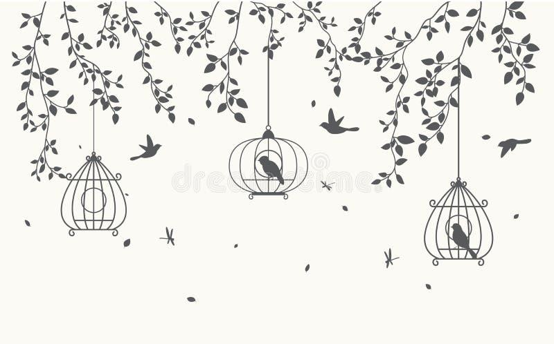 A silhueta deixa o fundo com o birdcage ilustração royalty free