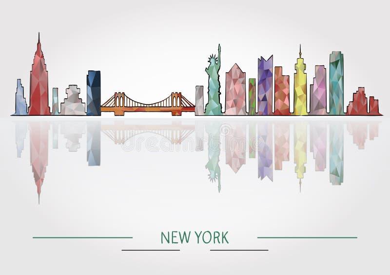 Silhueta detalhada da skyline de New York ilustração do vetor