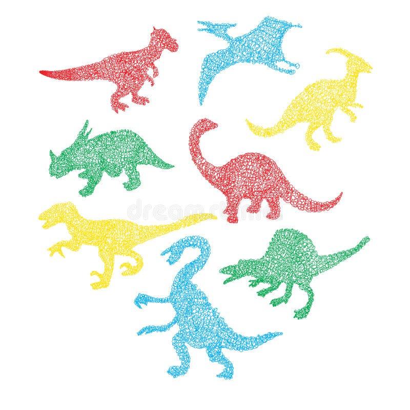 Silhueta diferente colorida bonito do dinossauro no garrancho dos desenhos animados ilustração royalty free