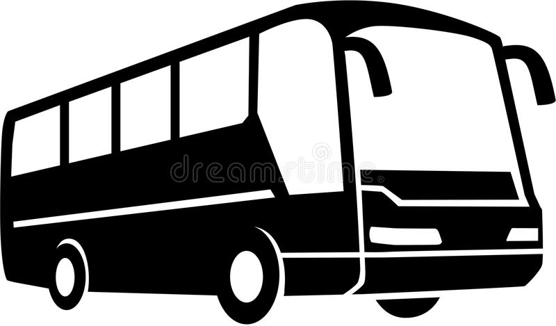 Silhueta do ônibus de excursão ilustração do vetor
