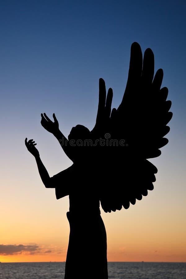 Silhueta do anjo fotografia de stock