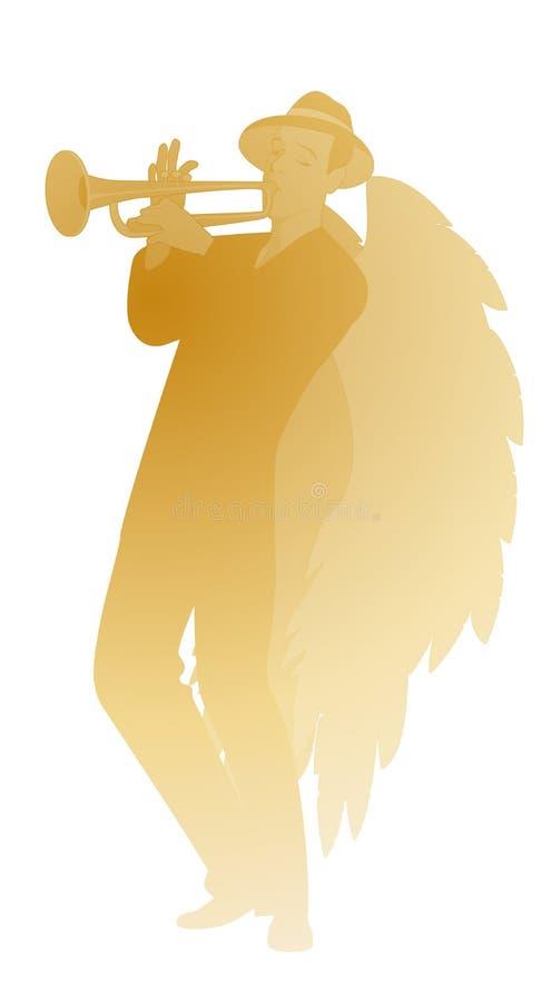 Silhueta do anjo com grandes asas, chapéu vestindo que joga a trombeta, isolada no fundo branco ilustração royalty free