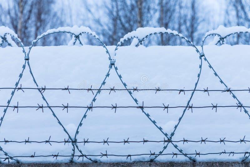 A silhueta do arame farpado no fundo da neve e do céu fotografia de stock