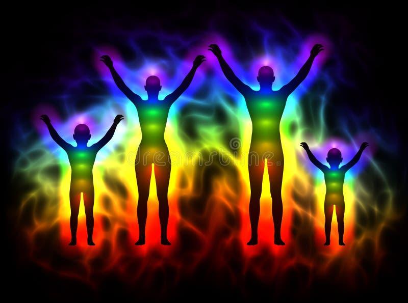 Silhueta do arco-íris com aura e chakras - família ilustração royalty free