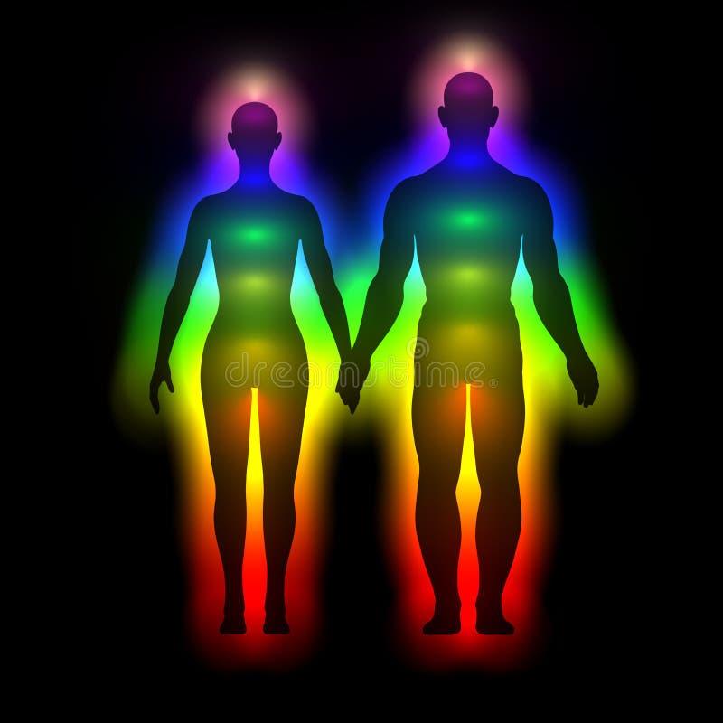 Silhueta do arco-íris do corpo humano com aura - mulher e homem ilustração stock