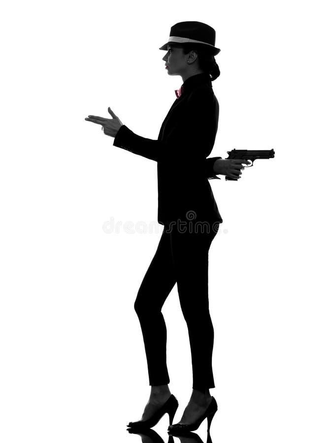 Silhueta do assassino do gângster da arma da mulher imagens de stock royalty free
