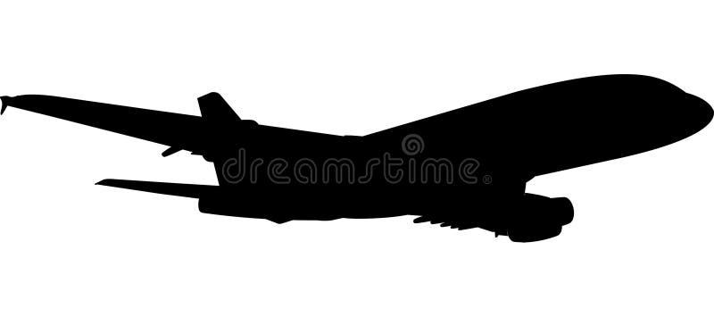Silhueta do avião A-380 ilustração royalty free