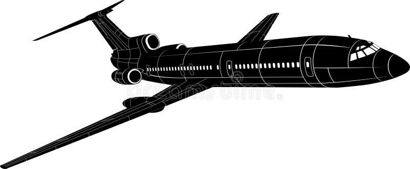 Silhueta do avião de passagem ilustração do vetor