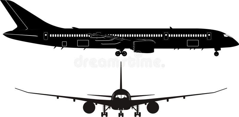 Silhueta do avião de passagem ilustração royalty free