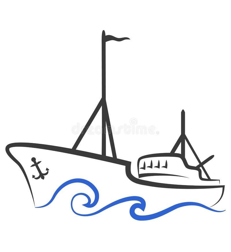 Silhueta do barco de pesca ilustração royalty free