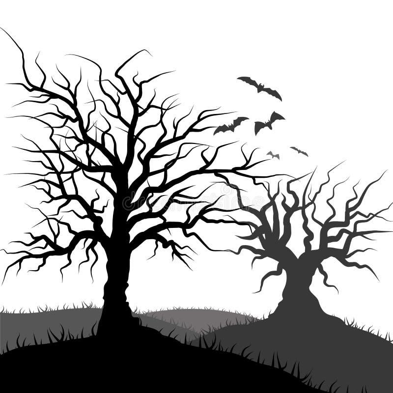 Silhueta do bastão do voo e da grama da árvore ilustração do vetor